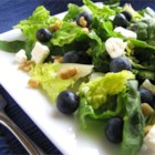 Blueberry Walnut Salad - An easy, yummy salad, perfect for any season, with berries, nuts, and greens. For an entree add chicken, diced apples, and diced green onions!