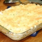 Chicken and Pea Casserole - A simple, quick casserole that's great for week-night meals with the family. It combines canned chunk chicken with mushroom soup, sour cream, peas, Parmesan cheese, rigatoni pasta, and seasonings.