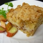 Oma's Rhubarb Cake - Rhubarb is baked into a streusel-topped coffee cake. Oma always makes this for her grand kids after she picks through her garden. Probably not good for the thighs but Oma's cooking is always good for the taste buds.