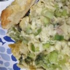 Broccoli Chicken Casserole III - Sour cream, cheddar and Parmesan melt into an ultra-creamy base for chicken, broccoli, olives and noodles.  Curry adds a spicy note.