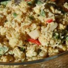 Rice A Roni(TM) Salad - Mayonnaise and Worcestershire sauce create a nippy dressing for this rice and chicken salad. Water chestnuts and celery add a bit of crunch. If you're careful about the amount of dressing you stir in, this salad can be chilled and unmolded onto a plate.