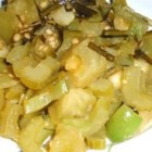 Green Tomato and Bell Pepper Delight - Green tomatoes, bell peppers, celery and green onions sauteed in olive oil and cider vinegar.  A great new way to use green tomatoes!