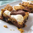 S'more Brownies - Great brownies made even better by topping with marshmallows, graham crackers and chocolate bars. Quick and easy to prepare.