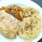 Meghann's Chicken Scallopini - Chicken breasts are pounded thin for quick cooking. Top with a rich and creamy onion sauce, and they're a dish your whole family will love.