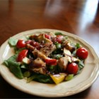 Spinach Salad with Pistachio Chicken - This is a tasty dinner salad, topped with tender slices of pistachio encrusted chicken. If you don't care for spinach, you can substitute field greens. Serve with crusty French bread.