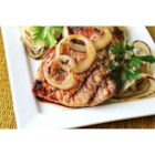 Soy and Honey Pork Chops - Grilled pork chops brushed with a honey-soy sauce mix are served with grilled slices of sweet onion. There's no marinating time for the sauce, you just mix it and brush it on.