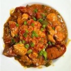 Gumbo Style Chicken Creole - Cooked leftover chicken can be tossed into this gumbo and simmered with tomatoes, mushrooms, chile peppers, a little of this and a little of that. Delicious chicken gumbo consistency with tomato base.  Makes plenty to last for several days. Serve over hot cooked rice and sprinkle with filé powder, if desired.