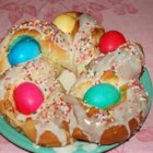 Easter Bread Ring - A braided ring of bread with colored eggs baked inside.