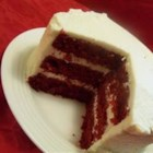 Mom's Signature Red Velvet Cake - Moist red velvet cake has lots of light and fluffy cooked frosting that's not too sweet -- it's just right.
