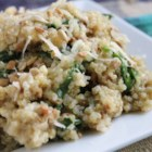 Cheesy Quinoa Pilaf with Spinach - This creamy pilaf incorporates the fluffy, nutty-flavored grain, quinoa, with a decadent and delicious goat cheese gouda. This has an amazing flavor and texture. Try serving with steamed salmon.