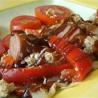 Angry Bird Bar-B-Cue Chicken and Sausage - Serve this flavorful dish of rotisserie chicken, andouille sausage, colorful bell peppers, onions, and garlic simmered in your favorite BBQ sauce as a hearty sandwich filling or over rice.