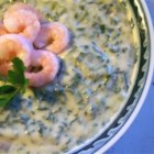 Byrdhouse Spinach Soup - This rich and creamy spinach and mushroom soup is elegantly garnished with chilled shrimp.