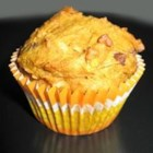 Pumpkin Coconut Muffins with Chocolate Chips - As the title states, this recipe makes pumpkin-flavored muffins with coconut and chocolate chips, but also uses applesauce, unrefined sugar, and whole-wheat and pastry flours.