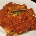 Inside Out Ravioli I - All the tasty ingredients that you find inside ravioli are used in this hearty pasta casserole. Layer a meaty tomato sauce with a tasty blend of spinach, pasta, bread crumbs, shredded cheese and eggs, then let your oven take over from there.