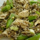 Chicken and Snap Pea Wild Rice Salad - A safflower-tarragon vinaigrette and toasted almonds flavor this filling salad.