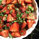 Sweet and Tart Strawberry Salad - First the fresh berries are tossed in brown sugar and then they 're sprinkled with balsamic vinegar and black pepper. Trust us, you will absolutely love it. An amazing taste treat for four.