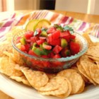 Watermelon Fire and Ice Salsa - Juicy watermelon replaces tomatoes in this salsa that's simultaneously cool and spicy hot -- perfect for a summer barbeque. Serve it with tortilla chips, or use it as a topping for grilled chicken or fish.