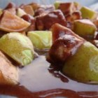 Apple Topaz Candies - An apple goes a long way in this candy recipe! Little apple bits are rolled in cinnamon and sugar, caramel, and chopped nuts. Although they do take some work, they're well worth it.    They're just perfect for harvest parties in the fall!