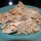 Busy Day Chicken Rice Casserole - This meal comes together in minutes with canned soups, canned mushrooms and rice.  Dried onion soup makes an easy au gratin topping.