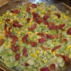 Creamy Succotash with Bacon, Thyme and Chives - Frozen lima beans and corn are used to make this delicious winter side dish.
