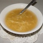 Chi Tan T'ang (Egg Drop Soup) - This is a simple soup in which beaten eggs are stirred into a chicken broth flavored with soy sauce and vinegar and chopped scallions.