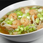 Shrimp Soup - Shrimp and dill weed are added to a combination of beef, chicken and shrimp consommes in this soup which is low in fat and calories.  Serve garnished with chopped scallions.