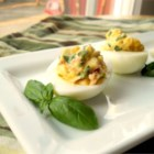Garlic, Basil, and Bacon Deviled Eggs - These deviled eggs have the bold flavors of garlic, basil, and crunchy bacon.