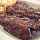 Korean BBQ Short Ribs (Gal-Bi) - This is a easy way to make Korean BBQ. You can also substitute chicken breast or sliced rib-eye for the short ribs. If you use chicken or rib-eye, you must add thinly sliced green onion tops.
