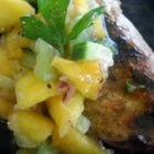 Fruity Chicken Salsa - Kiwi, peaches and cucumber temper the heat of jalapeno and onion in this sweet-hot accompaniment to grilled or broiled chicken.