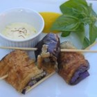 Pan Fried Eggplant with Saffron Mayonnaise - These mouth watering eggplant rolls can be served as tapas or as a side dish. Serve alongside a crusty bread for a hearty appetizer.
