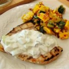 Grilled Swordfish Steaks with Cucumber Sauce - This wonderful, tangy sauce really compliments the flavor of grilled swordfish steaks. Serve with the cucumber sauce, and the combination of flavors are wonderful.