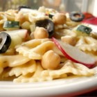 Greek-alicious Pasta Salad - Enjoy this light salad that showcases creamy garbanzo beans, crisp radishes and cucumbers, and salty feta cheese.