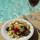Pool Party Pasta Salad - This Pasta salad is a nutritious and light summer meal or side dish. My 4 yr old loves the veggies in this. I regularly use up grilled leftovers (chicken and veggies) in this salad.