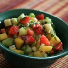 Spicy Strawberry Kiwi Peach Salsa - This good summertime salsa hits your taste buds with the flavors of fresh peach, kiwi, strawberry, and jalapeno pepper.