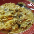 Chicken and Mushroom Chowder - This thick mixture of chicken, mushrooms, and rice is easy to prepare.