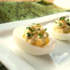 Creamy Deviled Eggs - A cool, creamy ranch and cream cheese mixture with onion and pickle is the filling for these delicious deviled eggs.