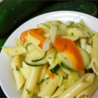 Mostaccioli Salad - Tubular mostaccioli is an excellent pasta to use in pasta salads. This salad combines pasta combines pasta with a tangy dressing, onion, cucumber, and pimentos.