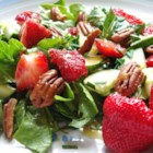 Strawberry Romaine Salad II - This is a great salad with lots of taste sensations  - strawberries, mandarin oranges, red onions, and tomatoes. The poppy seed dressing is very different; it is made with honey, cherry juice, lemon juice, and mayonnaise.