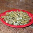 Pesto Pasta with Green Beans and Potatoes - Penne pasta is tossed with fresh green beans and red potatoes in a creamy pesto-yogurt sauce. Different and yummy!