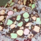 Stained Glass Candy II - Easy and delicious rolled chocolate, walnut, coconut and colored marshmallow candy!