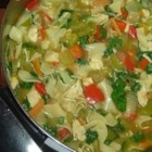 Lloyd's Healthy Chicken Zoopa - Chicken vegetable soup with wonderful variations:  dashes of soy and hot pepper sauces, plus spinach.  This low fat soup is rich in nutrients and taste.