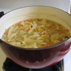 Chicken Noodle Soup II - Chicken soup is the original cold medicine, and this version with homemade noodles in broth with onion and garlic lives up to it 's reputation as a cure-all.