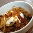 Lentils and Rice with Fried Onions (Mujadarrah) - Fried onions are mixed with rice and lentils, and topped with yogurt or sour cream. So simple, and so delicious!