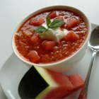 Julia's Watermelon Gazpacho - This cold gazpacho soup, made with watermelon and no tomato, has a sweet, slightly spicy, refreshing flavor. It makes a great start to your summer meal.