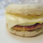Muffin Morning Makers - A complete breakfast that you can carry in your hand! Eggs, cheese, sausage and green onion are sandwiched in an English muffin.