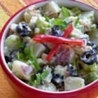 Ripe Olive Potato Salad - After you 've cooked and diced the potatoes and added the olives, celery, and onions, you 'll stir in a dilled vinaigrette, and pop the almost-potato salad into the fridge. Then comes the yummy part. A yogurt/honey/mustard/garlic dressing is gently folded into the chilled salad, then chilled again until ready to serve.