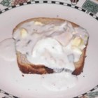 Tuna on Toast - Cream of mushroom soup with tuna and egg, over toast.