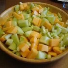 Summer Medley Salad - A mellow, refreshing salad of cucumbers, cantaloupe, and honeydew.