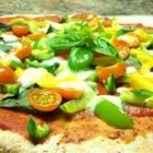 Easy Tomato-Basil Pizza - This vegetable pizza recipe uses pre-baked crusts and a variety of fresh vegetables.