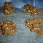 Chocolate Clusters - This no-bake cookie recipe is and easy and fast way to get a treat from just butterscotch chips, chocolate chips, peanuts, and chow mein noodles.